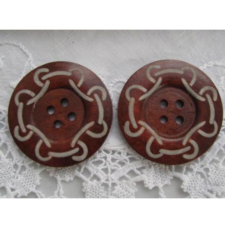 Mönstrad kaffebrun träknapp, 6 cm