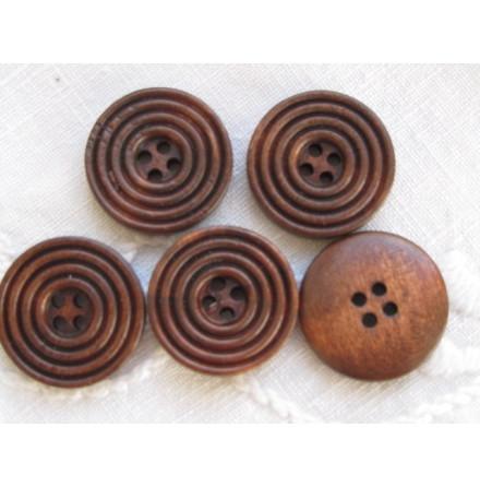 Kaffebrun snidad träknapp, 20 mm