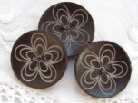 Mönstrad mörk kaffebrun träknapp, 30 mm