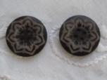 Mönstrad mörk kaffebrun träknapp, 24 mm