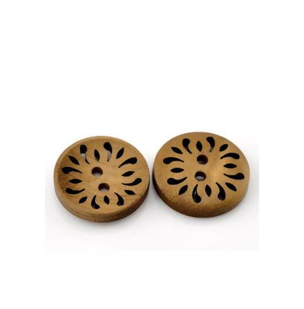 Brun mönstrad träknapp, 23 mm