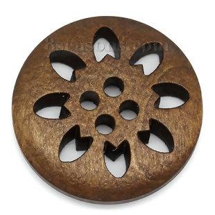 Brun mönstrad träknapp, 25 mm