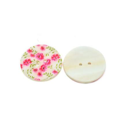 Blommig pärlemorknapp, rosa, 30 mm