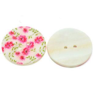 Blommig pärlemorknapp, rosa, 15 mm