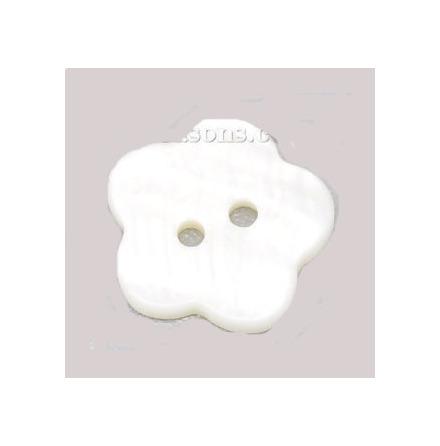 Blomma - pärlemorknapp, vit, 15 mm