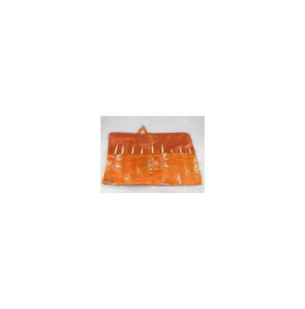 Sidenfodral till virknålar och korta stickor